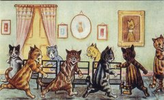 'Musical Chairs' Fantastic Louis Wain Cat Party Illustration Greeting Card