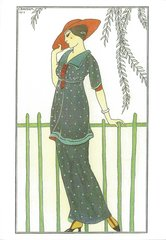 'The Red Hat' Art Deco Greeting Card with Georges Barbier Illustration
