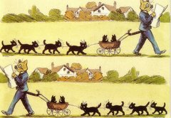Fun Vintage Cat Greeting Card of a Dad Cat with Children. Illustration by Louis Wain.