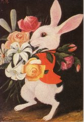 Classic Vintage Rabbit Greeting Card Smart Bunny with Bouquet