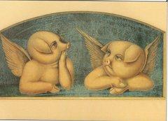 £1 Card!!! Pig Cherubs Unusual Vintage Greeting Card Repro