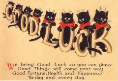'The Good Luck Cats' Vintage Black Cat Greeting Card Repro.