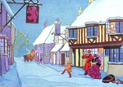 The Red Lion Vintage Christmas Card Repro with a Victorian Street Scene