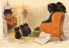 £1 Card!!! 'A Cosy Evening' Vintage Cat Greeting Card Repro.