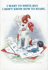 'I Want To Write...' Friendly Dog Greeting Card Vintage Repro