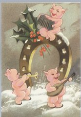 A Jolly Time Cheerful Vintage Pig Christmas Illustration Greeting Card