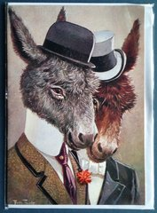 'William and Harry' Fantastic Vintage Donkey Greeting Card