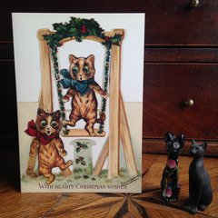 £1 Christmas Card!!! Vintage Louis Wain Cat Greeting Card Repro.