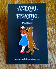 Let's Dance! Enamel Pin Badge of a Large Dog Trying to Make Friends With a Terrified Lady.
