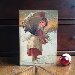 £1 Christmas Card!!! 'Gathering Mistletoe' Traditional Victorian Christmas Card Repro