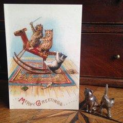 £1 Christmas Card!!! 'Merry Greetings' Vintage Louis Wain Cat Greeting Card Repro.
