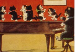 Fun Greeting Card of Cats on a Piano