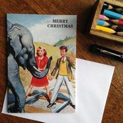 Elephant On The Tracks! Vintage Alternative Christmas Card!