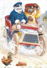 'Hold On To Your Hat!' Fun Christmas Card with Bears Driving a Vintage Car
