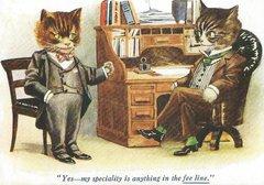 £1 Card!!! 'The Fee-line' Humorous Vintage Cat illustration Greeting Card. Professional Talk