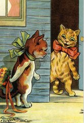 'Just For You' Joyous Vintage Cat Illustration by Louis Wain