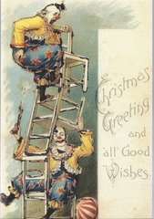Christmas Clowns Unusual Vintage Christmas Card Reproduction