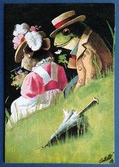 £1 Card!!! Romantic Frog Vintage Greeting Card