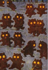'Let's Dance' Vintage Cat Greeting Card Repro. Illustration by Louis Wain.