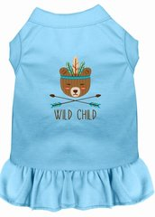 DOG DRESSES: Embroidered Dog Dress WILD CHILD in 7 Different Solid Colors & Sizes 10 (Sm) - 22 (4X) Made in USA