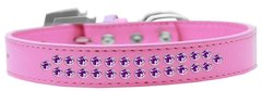 BLING DOG COLLARS: Dog Collar in Various Sizes & Colors by Mirage - TWO ROWS PURPLE CRYSTALS