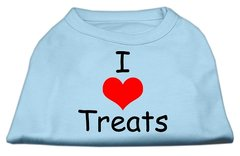 Dog Shirts: I LOVE TREATS Screen Print Dog Shirt in Various Colors & Sizes by Mirage