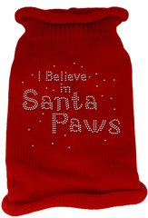 Dog Sweaters: Rhinestone I BELIEVE IN SANTA PAWS Acrylic Knit Dog Sweater in Different Colors & Sizes - Mirage