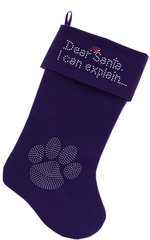 Dog Christmas Stockings: Dear Santa I can Explain in Rhinestones Christmas Dog Stocking