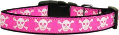 Dog Collars: Nylon Ribbon Dog Collar Mirage Pet Products - PINK SKULLS