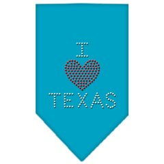 Dog Bandanas: Rhinestone Dog Bandana 'I HEART TEXAS' Different Colors Sizes Small or Large by Mirage USA