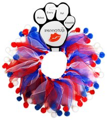 Smoochers Dog Collars: Smoocher Dog Collar - RED, WHITE AND BLUE FUZZY
