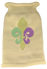 Dog Sweaters: Rhinestone MARDI GRAS FLEUR DE LIS Acrylic Knit Dog Sweater in Different Colors & Sizes - Mirage