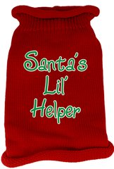 Dog Sweaters: Screen Print SANTA'S LIL HELPER Knit Dog Sweater in Different Colors & Sizes - Mirage