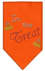 Dog Bandanas: Halloween Rhinestone 'I'M THE TREAT' Dog Bandanas Small or Large Different Colors by Mirage USA