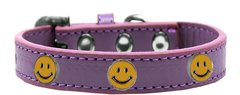Dog Collars: Cute Dog Collar with HAPPY FACE Widgets on Premium Vegan Leather Dog Collar in Different Colors & Sizes by Mirage USA