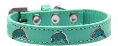 Dog Collars: Cute Dog Collar with DOLPHIN Widgets on Premium Vegan Leather Dog Collar in Different Colors & Sizes by Mirage USA
