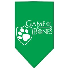 Dog Bandanas: Screen Print Cotton Dog Bandana 'GAME OF BONES' Different Colors in Small or Large by Mirage USA
