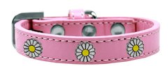 Dog Collars: Cute Dog Collar with WHITE DAISY Widgets on Premium Vegan Leather Dog Collar in Different Colors & Sizes by Mirage USA