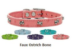 Leather Dog Collars: Bone Leather Dog Collar Mirage Pet Products USA - FAUX OSTRICH