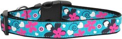 Holiday Dog Collars: Nylon Ribbon Cute USA Dog Collar - AQUA LOVE