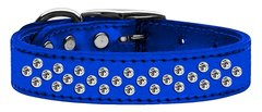 Leather Dog Collars: METALLIC Leather Jeweled Dog Collar by Mirage - SPRINKLES CLEAR CRYSTALS