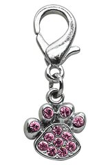 Pet Charms: Beautiful Austrian Crystals Dog Dangle Paw Print Charm for Dog Collars Mirage