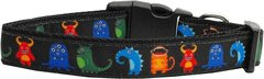 Holiday Dog Collars: Nylon Ribbon Dog Collar by Mirage Pet Products USA - BLACK MONSTERS