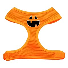 Dog Harnesses: Screen Print - PUMPKIN FACE Soft Mesh Dog Harness in Several Sizes & Colors USA