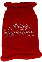 Dog Sweaters: Rhinestone MERRY CHRISTMAS Acrylic Knit Dog Sweater in Variety of Colors & Sizes - Mirage