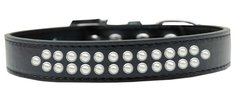 BLING DOG COLLARS: Dog Collar in Various Sizes & Colors by Mirage - TWO ROWS PEARLS