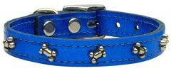 Leather Dog Collars: METALLIC Leather Dog Collar Mirage Pet Products USA - BONES