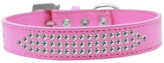 BLING DOG COLLARS: Dog Collar Various Sizes & Colors by Mirage - THREE ROWS CLEAR CRYSTALS