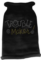 Dog Sweaters: Rhinestone TROUBLE MAKER Acrylic Knit Dog Sweater in Different Colors & Sizes - Mirage