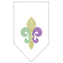 Dog Bandanas: Rhinestone Dog Bandana 'MARDI GRAS FLEUR DE LIS' Different Colors Sizes Small or Large by Mirage USA